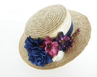 Hat Boater Eveline with flowers