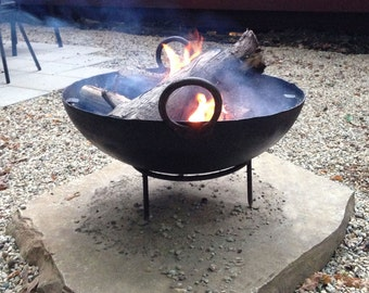 Steel Firebowl / Fire Pit From India W/ BBQ Grill Grate and Stand - Medium (stamped steel)