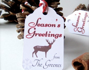 Christmas gift tags, holiday tags, custom Christmas tags, Season's Greeting tags, reindeer tags, present labels - 15 count