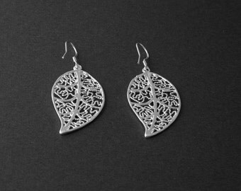 Silver Leaf Earrings/ Filigree Earrings/ Silver Leaf Jewelry/ Bridesmaid Earrings/ Silver Jewelry