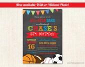 All-Star Sports Birthday Invitations - Bright Color Boy Birthday Invitations - Photo Sports Invitations  - Digital or Printed