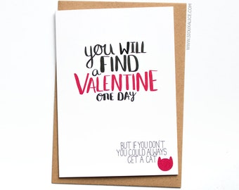 Funny Valentines day card for friend best friend card crazy cat lady card for her love card cat lady card valentines cat card single card