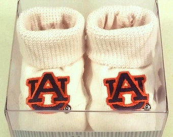 Auburn Tiger Boxed Baby Booties