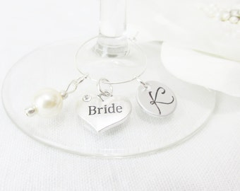 Personalized Bride Wine Glass Charms, Monogram Initial Bridal Wine Glass Charm, Gifts For Brides, Wine Glass Charms For Bridal Party