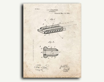 Patent Print - Harmonica Patent Wall Art Poster