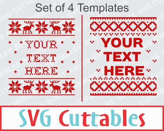 Christmas Sweater SVG EPS DXF Set of 4 templates plus