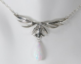 Sterling Silver Lily with Simulated Opal Drop Necklace