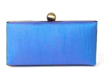 Blue Silk Clutch - Sky Blue Evening Clutch - Blue Wristlet - Blue Bridesmaids Clutch - Blue Minaudiere - Silk Minaudière - FREE GIFT BOX