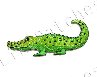Green Crocodile Happy Smiley Face Cute Cartoon Animal New Sew / Iron On Patch Embroidered Applique Size 11cm.x4.6cm.