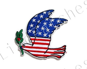 American Seagull - Bird Patch - American Flag New Sew / Iron on Patch Embroidered Applique Size 7.9cm.x7.5cm.