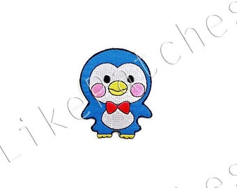 Blue Penguin Cute Sweet Animal New Sew on / Iron On Patch Embroidered Applique Size 5.7cm.x7cm.