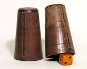 Leather Dice Shaker Cups - Retro French Leather Cups - Made in France 1930 - Antique Shaker Cups - Collectible Vintage Games - Vintage Toy
