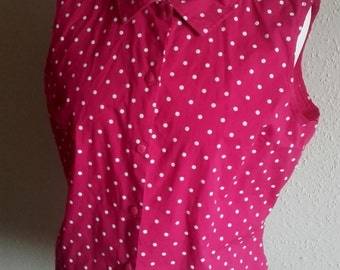 Vintage 60's style Sleeveless Pink white polka dot spotted festival blouse top plus size