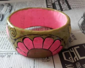Vintage 60's paper floral mache bangle bracelet made in Mexico