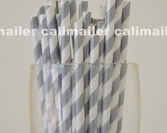 SALE - 50 Silver Stripe Paper Straws for party, wedding, birthday, Halloween