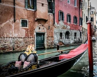 Venice Gondola Photo Venice Canals Photo Fine Art Photography European Old World Charm Romantic Venice Venezia Italy Home Decor  Wall Art