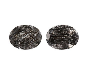 Black Rutilated Quartz Oval Cut Loose Gemstones Set of 2 1A Quality 8x6mm TGW 1.80 cts.