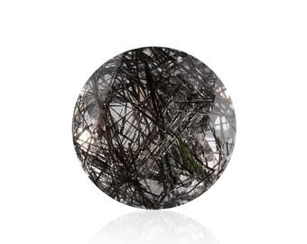 Black Rutilated Quartz Loose Gemstone Round Cut 1A Quality 8mm TGW 1.45 cts.