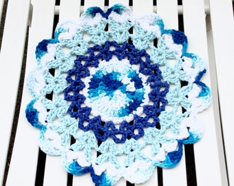 12 Inch Doily in Blues, Table Centerpiece or Vase Mandala