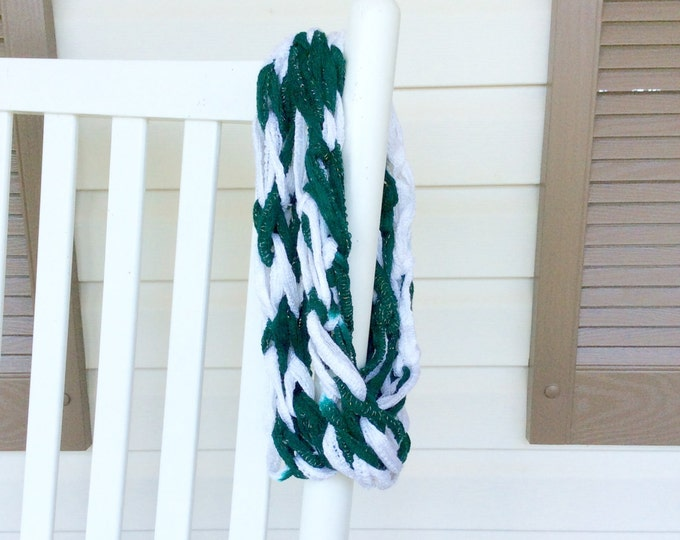 NY Jets or Philadelphia Eagles Inspired Women's Infinity Scarf, Scarf for Woman or Teen in team colors