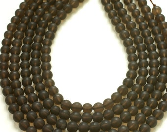 Matte Smoky Quartz Round Beads 8mm 15.5 inches Full Strand 49 Beads, Frosted, Raw, Unpolished Smoky Quartz Smooth Round Beads