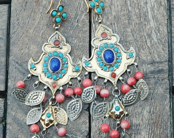 earrings with turquoise and lapis lazuli