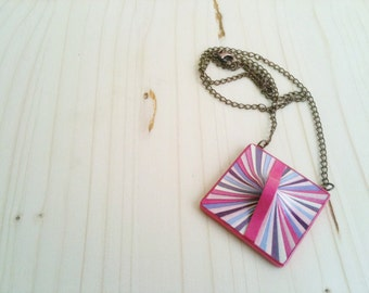 Geometric Square Necklace Pink Purple Fuchsia Recycled Paper Jewelry  Eco Friendly Colorful Pendant FREE SHIPPING Ready to Ship