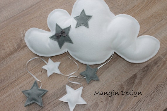 Grey Star Wall Decor : Gorgeous cloud stars hanging mobile baby nursery decor