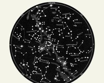 Black Constellation Print, Black Star Chart, Cosmos print, Circular Art