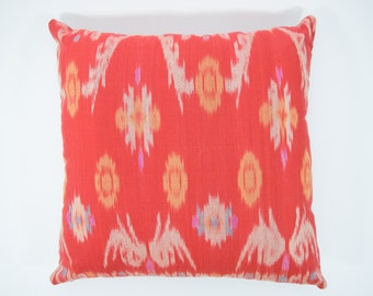 Orange-Red Ikat 16 x 16 cushion cover