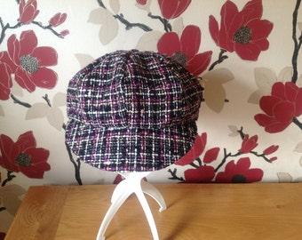 Pink and Black Newsboy Hat