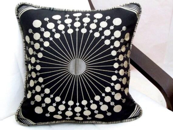 Goldenrod Throw Pillow : Sunburst pillow cover 18x18 Embroidery black goldenrod
