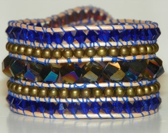 Handmade Beaded Five Row Wrap Cuff with Blue, Purple, and Jewel Crystals and Pearl Leather