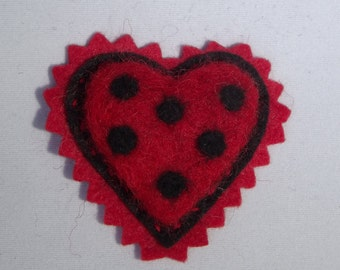 Valentine Heart Brooch Needle Felted Wool Wearable Art