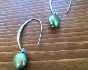 Honora Collection sterling silver Baroque freshwater cultured pearl dangle earrings avocado green