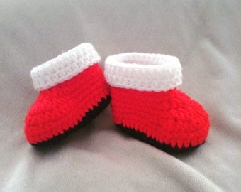 Crochet Baby Christmas Booties