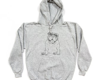 Tank English Bulldog Grey Hoodie (Unisex)