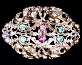 BEAUTIFUL Large Antique Art Nouveau Filigree Gold Aesthetic Sash Brooch with Rhinestones