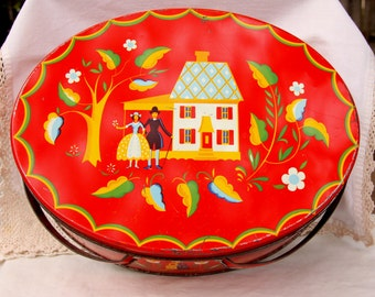 Vintage Red Pennsylvania Dutch Oval Tin with Handles, tin for keepsakes or sewing supplies, vintage advertising tin, red lidded tin