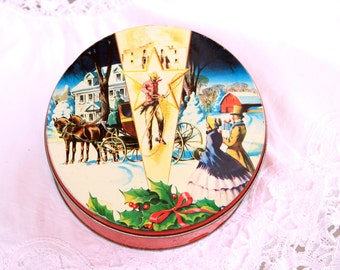 Vintage Texas Christmas Fruit Cake Tin, Lone Star State tin, Collins St Bakery tin, cookie/cake/candy/knickknack tin