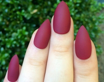 Matte nails, maroon nails, fake nails, stiletto nails