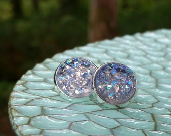 Stormy Prism Druzy Studs // Faux Druzy Earrings // Wedding Ideas // Romantic Colors // Studs or Dangles // Dome Out Designs // 12MM
