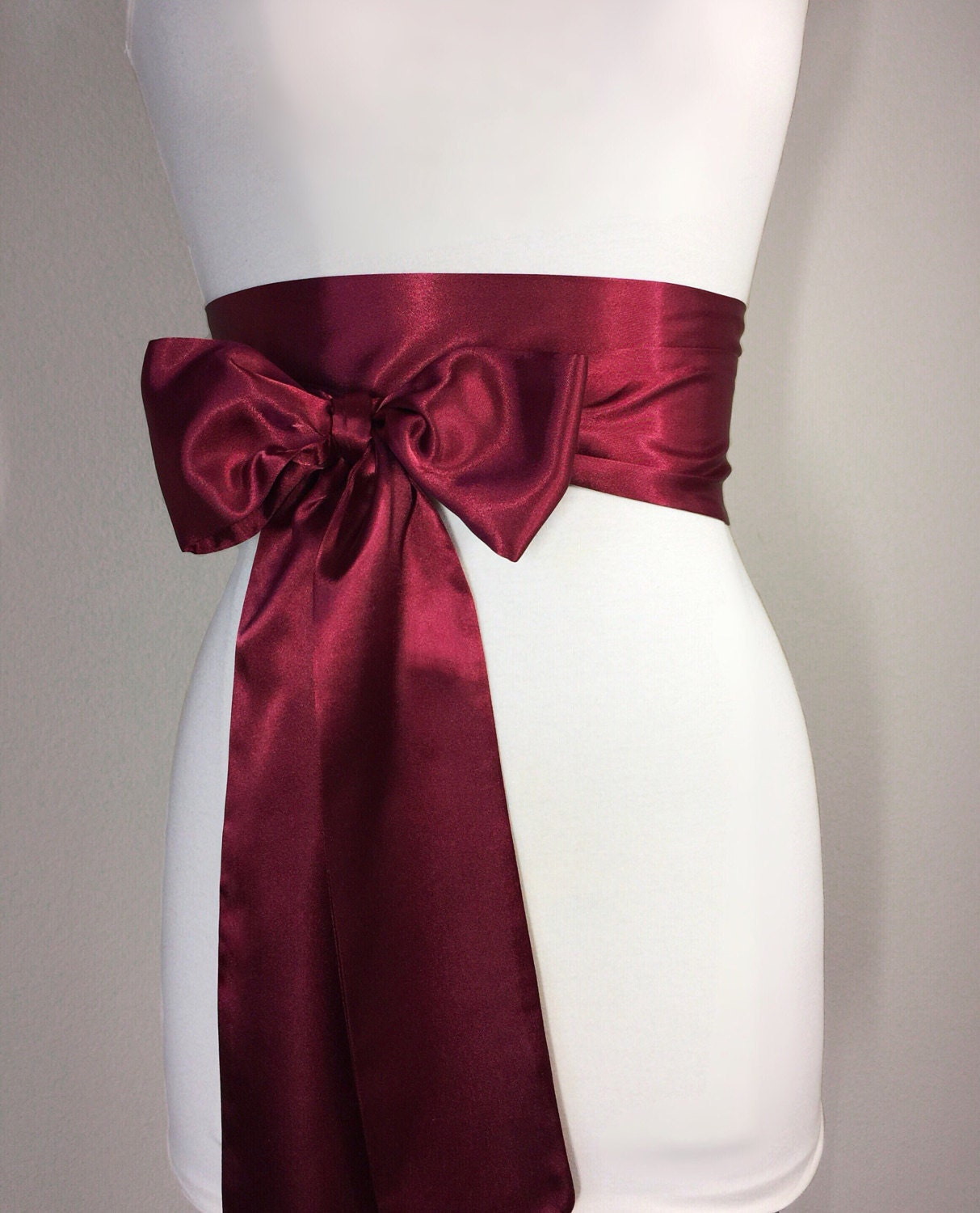 Burgundy sash burgundy satin sash maroon sash holiday for Satin belt for wedding dress