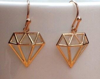 Diamond silhouette gold filigree minimalist earrings