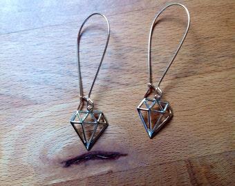 Diamond silhouette gold filigree earrings