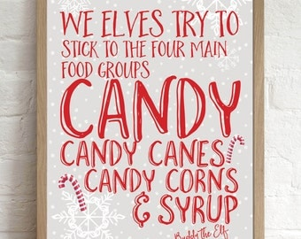 Buddy the Elf Quote, Christmas Decoration Print, Candy Cane, Christmas Art