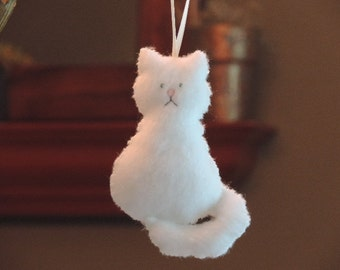 White Cat Ornament Felt Animal Ornaments (1 ornament)