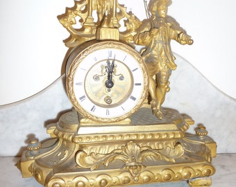 Antique spelter French clock signed PH Mourey – circa 1886