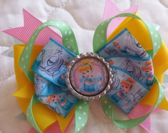 Cinderella stacked hair bow