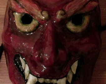 Full face wearable Oni demon style mask in red